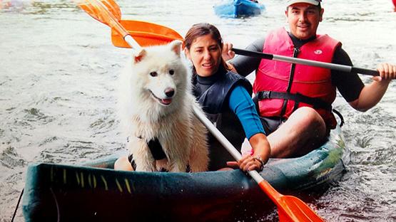 Con perros por el río Sella