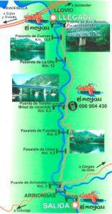 recorrido del descenso del Sella en canoa