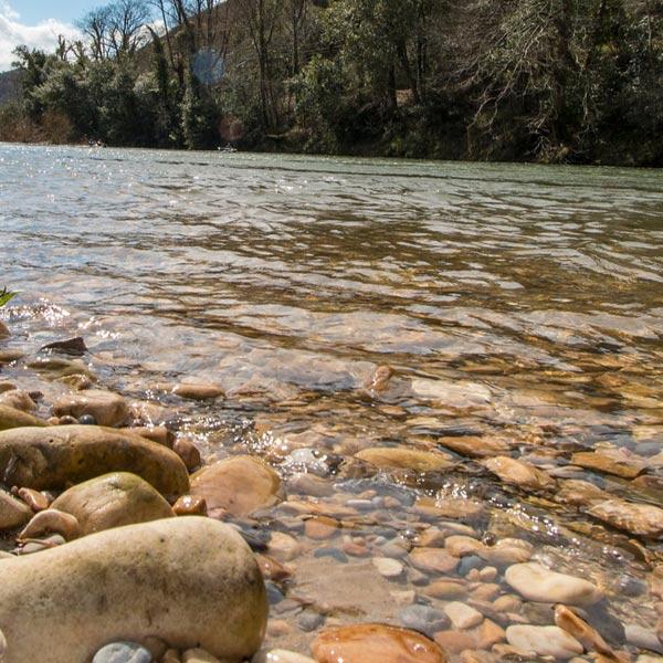 Las aguas del río Sella, ideales para bajar remando en una canoa
